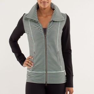 Lululemon Daily Yoga Green Black Striped Jacket